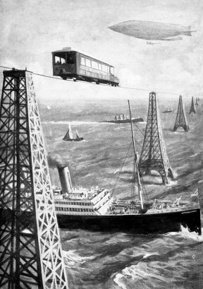 Illustrated plate from the novel 'The War in the Air', by H G Wells, published in 1908, which foresaw the importance of air forces in combat. This futuristic view shows a vehicle travelling on a monorail cable suspended between 'iron Eiffel Tower pillars', with ships sailing on the sea below and an airship flying in the sky above. English novelist and historian Herbert George Wells' (1866-1946) publications included 'The Time Machine' (1895) and 'The War of the Worlds' (1898). The Channel Tunnel was opened in 1994, 86 years after Wells' prediction of a transport link between Britain and France.
